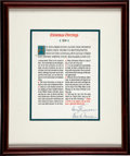 Autographs:U.S. Presidents, Harry S. Truman: First Couple Signed Christmas Greeting....