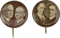 """Cox & Roosevelt and Harding & Coolidge Jugates: A Marvelous and Rare Matched Pair of 5/8"""" Pinbacks"""
