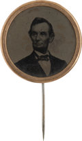 Political:Ferrotypes / Photo Badges (pre-1896), Abraham Lincoln: Choice 1864 Ferrotype Stickpin....