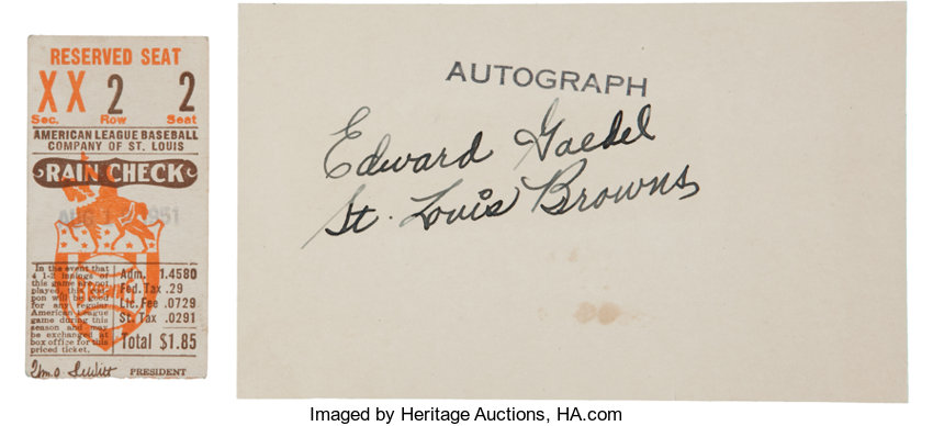 Baseball CollectiblesOthers 1951 Eddie Gaedel Rare Signed Index Card PSA DNA NM