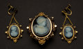 Estate Jewelry:Cameos, Victorian Cameo Hardstone On Black Onyx & Heavy Gold Frames Pin& Earrings. ... (Total: 2 Items)