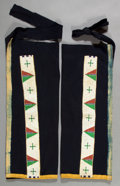 American Indian Art:Beadwork and Quillwork, A PAIR OF SIOUX MEN'S BEADED CLOTH LEGGINGS. c. 1900. ... (Total: 1Pair)