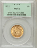 Liberty Half Eagles: , 1902 $5 MS62 PCGS. PCGS Population (279/314). NGC Census:(495/397). Mintage: 172,400. Numismedia Wsl. Price for problemfr...