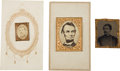 Political:Ferrotypes / Photo Badges (pre-1896), Abraham Lincoln and George McClellan Gems.... (Total: 3 Items)