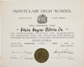 Transportation:Space Exploration, Buzz Aldrin: Montclair High School Diploma Originally from HisPersonal Collection with Signed LOA. ...