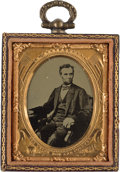 Political:Ferrotypes / Photo Badges (pre-1896), Abraham Lincoln: Cased Tintype Portrait....