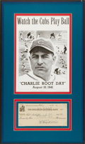 "Baseball Collectibles:Others, 1941 Charlie Root Signed Check and ""Charlie Root Day"" CoverDisplay. ..."