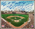 Baseball Collectibles:Photos, Chicago Cubs Greats Multi Signed Poster....