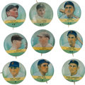 Baseball Cards:Singles (Pre-1930), 1933 Tattoo Orbit Chicago Cubs Pins (9). ...