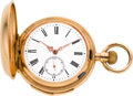 Timepieces:Pocket (post 1900), Swiss Small 42 mm Gold Minute Repeater, circa 1905. ...