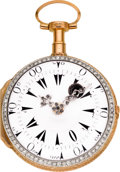 Timepieces:Pocket (pre 1900) , Swiss Turkish Market Gold & Diamond Set Skeletonized Verge,circa 1820. ...