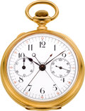 Timepieces:Pocket (pre 1900) , Agassiz 18k Gold Split Second Chronograph With Register, circa 1890's. ...