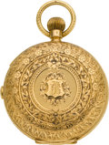 Timepieces:Pocket (pre 1900) , Swiss Fancy Engraved 18k Gold Quarter Hour Repeater With Chronograph, circa 1882. ...