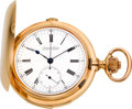 Timepieces:Pocket (pre 1900) , Audemars Freres Large Rose Gold Quarter Hour Repeater WithChronograph, circa 1895. ...