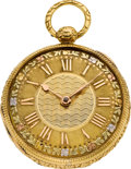 Timepieces:Pocket (pre 1900) , William Marshall Edinburgh Fancy Dial Gold Lever Fusee, circa 1830....