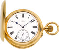 Timepieces:Pocket (pre 1900) , Swiss Gold Minute Repeater With Carillon Chimes, circa 1890's. ...