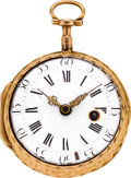 Timepieces:Pocket (pre 1900) , Gilbert, Paris Early Gold Verge Fusee, circa 1760. ...