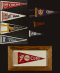 Baseball Collectibles:Others, Chicago Cubs Vintage Mini Pennants Lot of 8....