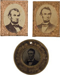 Political:Ferrotypes / Photo Badges (pre-1896), Abraham Lincoln: Three Campaign Badges.... (Total: 3 Items)