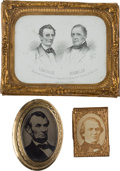 Political:Ferrotypes / Photo Badges (pre-1896), Abraham Lincoln and Andrew Johnson: A Trio of Items.... (Total: 3 Items)