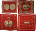 Political:Textile Display (1896-present), Winfield Hancock et al: Four Red Jugate Bandannas.... (Total: 4Items)