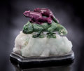 Lapidary Art:Carvings, RUBY & ZOISITE CHAMELEONS. ...