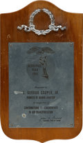 Transportation:Space Exploration, Gordon Cooper: 1965 Pioneer of Hawaii Aviation Award Plaque fromthe Family's Collection. ...