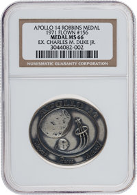 Apollo 14 Flown MS66 NGC Silver Robbins Medallion Originally from the Personal Collection of Astronaut Charlie Duke, Ser...