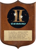 Transportation:Space Exploration, Gordon Cooper: Gemini 5 Launch Vehicle Team Plaque from the Family's Collection....