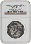 Transportation:Space Exploration, Apollo 17 Unflown MS67 NGC Silver Robbins Medallion Originally fromthe Personal Collection of Astronaut John Young, Serial Nu...