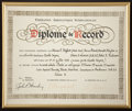 Transportation:Space Exploration, Apollo Soyuz Test Project Fédération Aéronautique Internationale Diploma of Record Directly From the Family Collection of Miss...