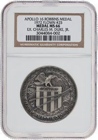 Apollo 16 Flown MS66 NGC Silver Robbins Medallion Originally from the Personal Collection of Mission Lunar Module Pilot...