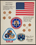 Transportation:Space Exploration, Space Shuttle Discovery (STS-29) Flown American Flag andMission Patch on Presentation Mat. ...