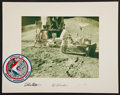 Transportation:Space Exploration, Apollo 15 Color Photo and Beta Cloth Mission Insignia on aCrew-Signed Mat....