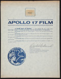 Transportation:Space Exploration, Apollo 17 Lunar Module Flown Camera Film Fragment on a Certificateof Authenticity. ...