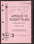 Autographs:Celebrities, NASA Final Apollo 13 Flight Plan Book Signed byMission Commander James Lovell and Lunar Module Pilot ...