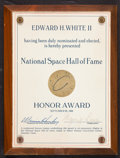 Transportation:Space Exploration, Ed White II: National Space Hall of Fame Plaque, Directly from His Family's Collection....
