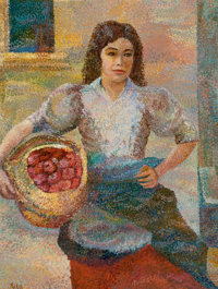 RITA HOFFMAN SHULAK (American, 20th Century) Apple Maiden on the Spanish Steps Oil on canvas 24 x