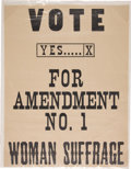 Political:Posters & Broadsides (1896-present), Women's Suffrage Broadside....