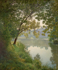 HENRI BIVA (French, 1848-1928) From Waters Edge Oil on canvas 60-1/2 x 50 inches (153.7 x 127 cm