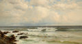 Fine Art - Painting, American:Antique  (Pre 1900), FRANCIS AUGUSTUS SILVA (American, 1835-1886). Summer Winds, LongBranch Beach, New Jersey, 1883. Oil on canvas. 20 x 36 ...