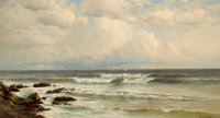 FRANCIS AUGUSTUS SILVA (American, 1835-1886) Summer Winds, Long Branch Beach, New Jersey, 1883 Oil o