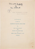 Transportation:Aviation, Howard Hughes: Fully Signed Menu by Global Circumnavigators....