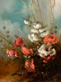 Fine Art - Painting, American:Antique  (Pre 1900), L. EDNA MARTIN (American, d. 1922). Flowers, 1884. Oil oncanvas. 27 x 20 inches (68.6 x 50.8 cm). Signed and dated lowe...