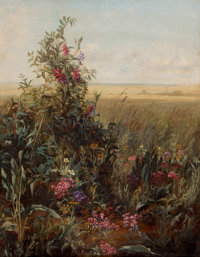 Circle of FIDELIA BRIDGES (American, 1834-1923) Wildflowers against a Vast Landscape, c. 1870s Oil o