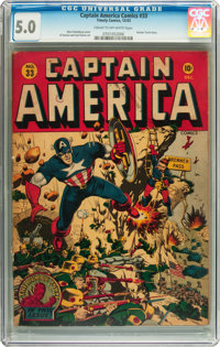 Captain America Comics #33 (Timely, 1943) CGC VG/FN 5.0 Cream to off-white pages
