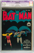 Golden Age (1938-1955):Superhero, Batman #3 (DC, 1940) CGC Apparent FN- 5.5 Moderate (P) White pages....