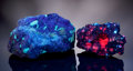 Minerals:Flourescent, PAIR OF BRIGHTLY FLUORESCENT FRANKLIN AREA CABINET SPECIMENS. ...