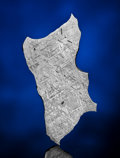 Meteorites:Irons, GIBEON METEORITE - AN OTHERWORLDLY MOSAIC IN A COMPLETE SLICE OF AN IRON METEORITE. ...