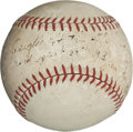"""Baseball Collectibles:Balls, 1938 Record-Setting """"High Catch"""" Baseball Dropped from Cleveland's 708-Foot Tall Terminal Tower...."""